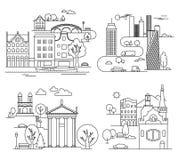 Elementi di progettazione della città stile lineare Illustrazione di vettore Immagini Stock