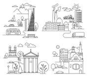 Elementi di progettazione della città stile lineare Illustrazione di vettore Fotografia Stock
