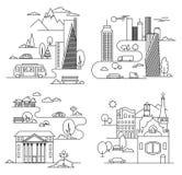 Elementi di progettazione della città stile lineare Illustrazione di vettore Fotografie Stock Libere da Diritti