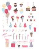 Elementi di progettazione della festa di compleanno Fotografie Stock Libere da Diritti