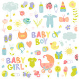 Elementi di progettazione della ragazza o del neonato Fotografie Stock