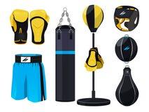 Elementi di progettazione delle attrezzature di pugilato, illustrazione dei guantoni da pugile Immagine Stock Libera da Diritti