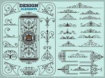 Elementi di progettazione delle decorazioni degli ornamenti dell'annata Immagini Stock Libere da Diritti