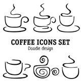 Elementi di progettazione delle tazze di caffè di scarabocchio Immagini Stock