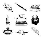 Elementi di progettazione dello scrittore Oggetti isolati Penna d'annata inchiostro, vettore dei libri Fotografia Stock