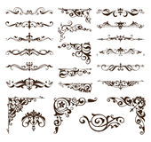 Elementi di progettazione di art deco degli angoli d'annata dei confini e degli ornamenti del telaio Fotografie Stock
