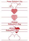 Elementi di progettazione di giorno di biglietti di S. Valentino - divisori Immagine Stock