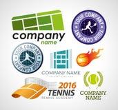Elementi di progettazione di logo di tennis Fotografie Stock