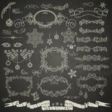 Elementi di progettazione di Natale nel retro stile Fotografia Stock