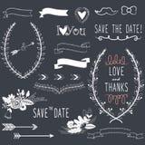 Elementi di progettazione di nozze della lavagna illustrazione vettoriale