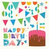 Elementi di progettazione di saluto di buon compleanno Fotografia Stock