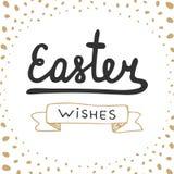 Elementi di progettazione di tipografia di vettore di desideri di Pasqua per le cartoline d'auguri, l'invito, le stampe ed i mani Immagine Stock Libera da Diritti