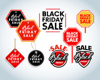 Elementi di progettazione di vendita di Black Friday Etichette dell'iscrizione di vendita di Black Friday, autoadesivi Fotografia Stock