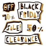 Elementi di progettazione di vendita di Black Friday nello stile geometrico Etichette dell'iscrizione di spazio di Black Friday,  Fotografia Stock