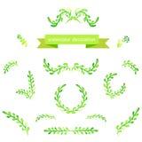 Elementi di progettazione di verde dell'acquerello Spazzole, confini, corona Vettore Immagini Stock Libere da Diritti