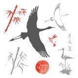 Elementi di progettazione di vettore nello stile giapponese Immagini Stock Libere da Diritti