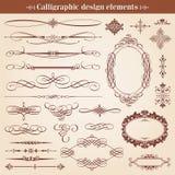 Elementi di progettazione e decorazione calligrafici della pagina Fotografia Stock Libera da Diritti