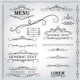 Elementi di progettazione e decorazione calligrafici della pagina - insieme di vettore Fotografie Stock