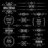 Elementi di progettazione e decorazione calligrafici della pagina sul bla Fotografia Stock Libera da Diritti