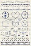 Elementi di progettazione e di Pen Drawing Seamless Borders Immagini Stock