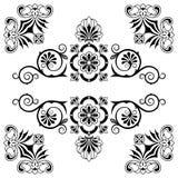 Elementi di progettazione floreale dell'ornamento con i turbinii illustrazione vettoriale