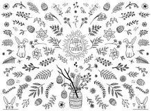 Elementi di progettazione floreale per Pasqua royalty illustrazione gratis