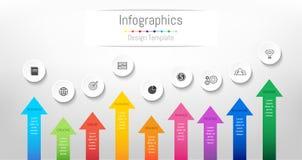 Elementi di progettazione di Infographic per i vostri dati di gestione con 9 opzioni illustrazione vettoriale