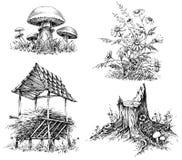 Elementi di progettazione di scarabocchi della foresta Immagine Stock Libera da Diritti