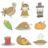 Elementi di ringraziamento di Doodle Fotografia Stock