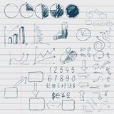 Elementi di scarabocchio dell'affare infographic Fotografie Stock