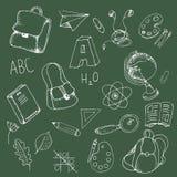 Elementi di scarabocchio della scuola Immagine Stock