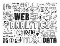 Elementi di scarabocchio di analisi dei dati di web Immagine Stock