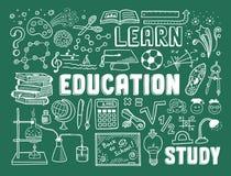 Elementi di scarabocchio di istruzione Immagine Stock
