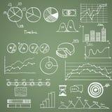 Elementi di scarabocchio di tiraggio della mano del finanse e di affari Immagini Stock