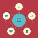 Elementi di stima ed altro piani di bancomat delle icone, fino a, di vettore Insieme delle icone piane di finanza Fotografia Stock Libera da Diritti