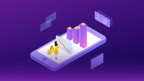 Elementi di successo di un investimento di Internet Simbolo finanziario di analisi e di strategia di web Disegno di vettore Illus illustrazione vettoriale