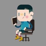 Elementi di tema della lettura del ragazzo del carattere Immagine Stock