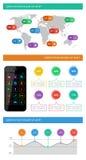 Elementi di Ui, di infographics e di web compreso la d piana Fotografie Stock Libere da Diritti