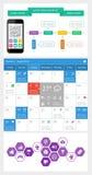 Elementi di Ui, di infographics e di web compreso la d piana Immagini Stock