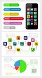 Elementi di Ui, di infographics e di web compreso la d piana Fotografia Stock