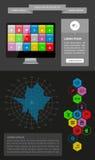 Elementi di Ui, di infographics e di web compreso la d piana Fotografie Stock