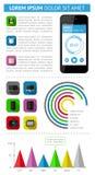 Elementi di Ui, di infographics e di web compreso la d piana Fotografia Stock Libera da Diritti