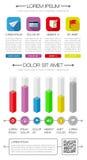 Elementi di Ui, di infographics e di web compreso la d piana Immagini Stock Libere da Diritti