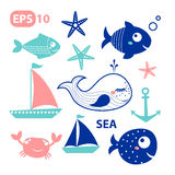 Elementi di vettore del mare, pesci Immagini Stock Libere da Diritti