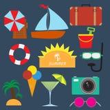 Elementi di viaggio di estate Fotografia Stock Libera da Diritti