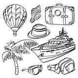 Elementi di viaggio di festa illustrazione vettoriale