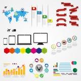 Elementi differenti del infographics in una prestazione variopinta Illustrazione Vettoriale