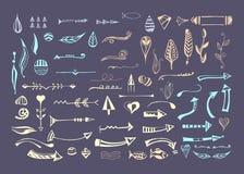 Elementi differenti disegnati a mano Immagine Stock
