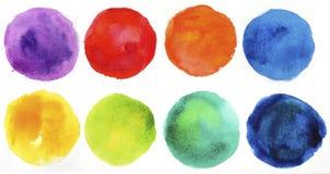 Elementi dipinti a mano di disegno di figura del cerchio dell'acquerello Fotografie Stock