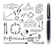 Elementi disegnati affare con la penna nera realistica, scarabocchi fissati, disegni neri Isoalted di vettore royalty illustrazione gratis